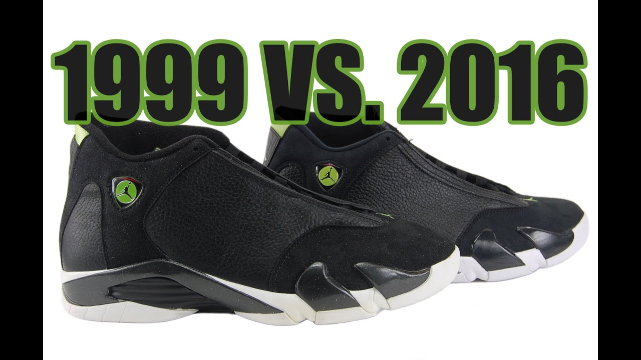 11382db559d6ff 2016 vs. 1999 Air Jordan 14 Indiglo Comparison - YouTube