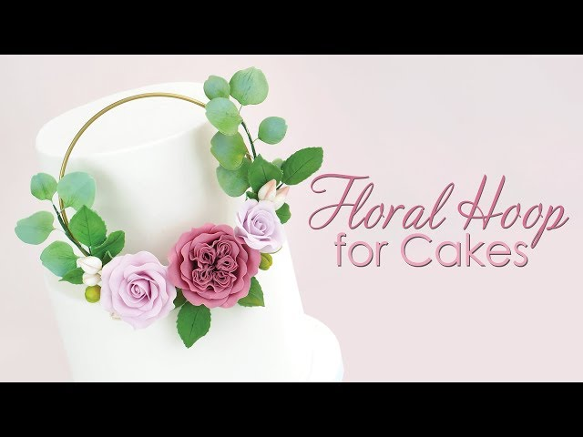 How to make a Floral Cake Hoop / wreath with gumpaste sugar flowers
