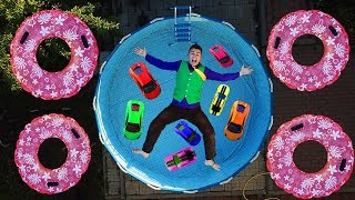A LOT OF Toy Car in an EMPTY POOL with NO WATER & Diver Mr. Joe on Lamborghini Huracan for Kids