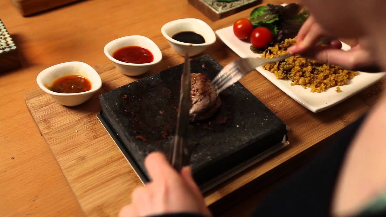 Premium Lava Stone Steak Set By Black Rock Grill Table