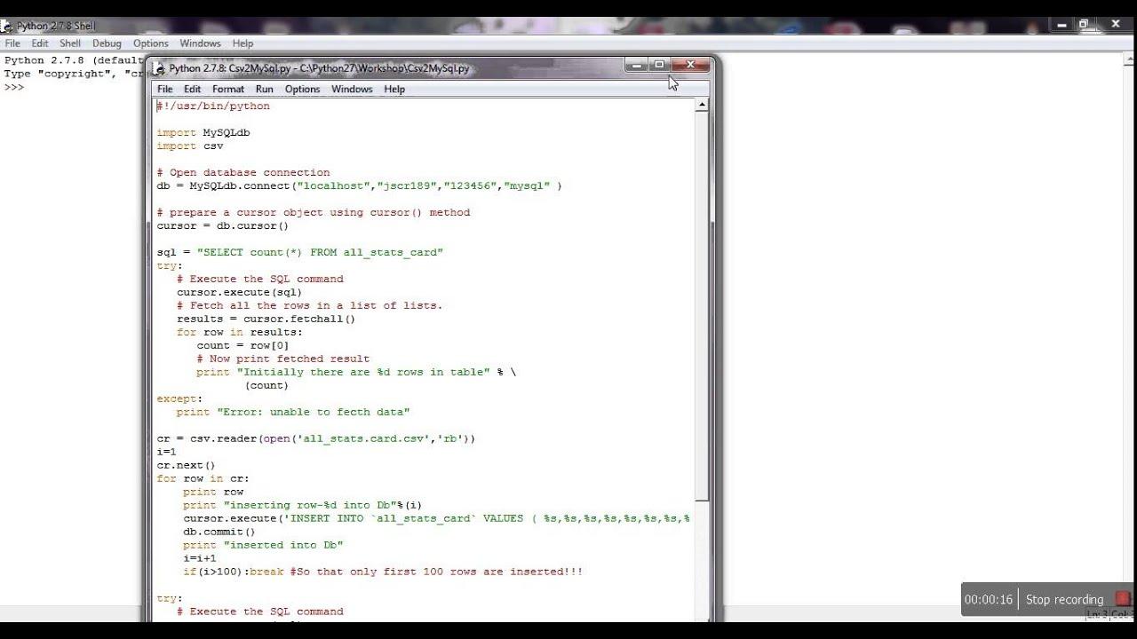 Inserting first 100 rows from CSV to MySql Using Python