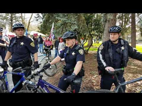 Trump vs anti Trump protester clash Salem Oregon