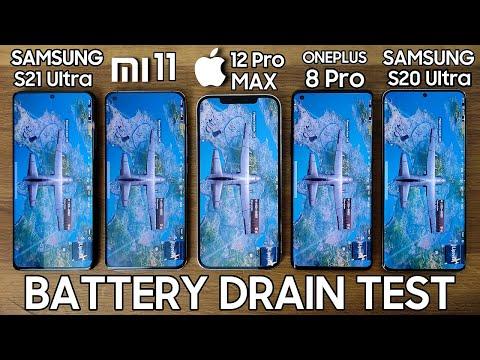 Galaxy S21 Ultra vs Xiaomi Mi 11 / iPhone 12 Pro Max / OnePlus 8 / S20 Ultra - BATTERY DRAIN TEST!