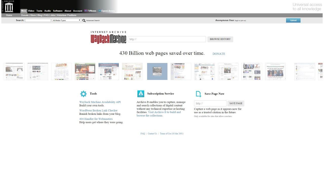 Internet Archive's Wayback Machine