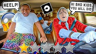 PICKED UP MY Lil Brothers UP IN AN SCARY GRANNY UBER DISGUISE!!! *went terrible*