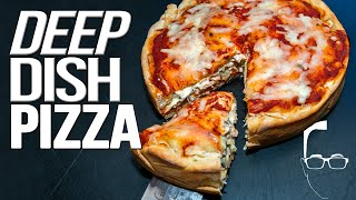 EASY HOMEMADE DEEP DISH PIZZA RECIPE | SAM THE COOKING GUY 4K