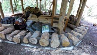 Off grid roundhouse build part 10 cordwood walls.