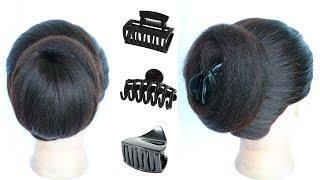 2 cute daily juda hairstyle using clutcher    hair style girl    easy hairstyles    cute hairstyles