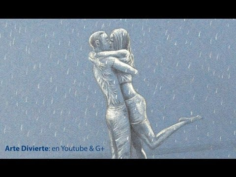 Cmo dibujar una pareja de enamorados besndose bajo la lluvia