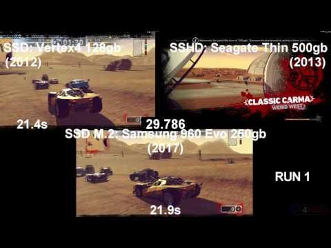 SSHD Vs SSD Vs SSD M.2 NVMe - Load TImes Test - Carmageddon: Max Damage