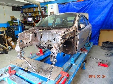 Chevrolet Aveo. повреждения. установка на стапель.