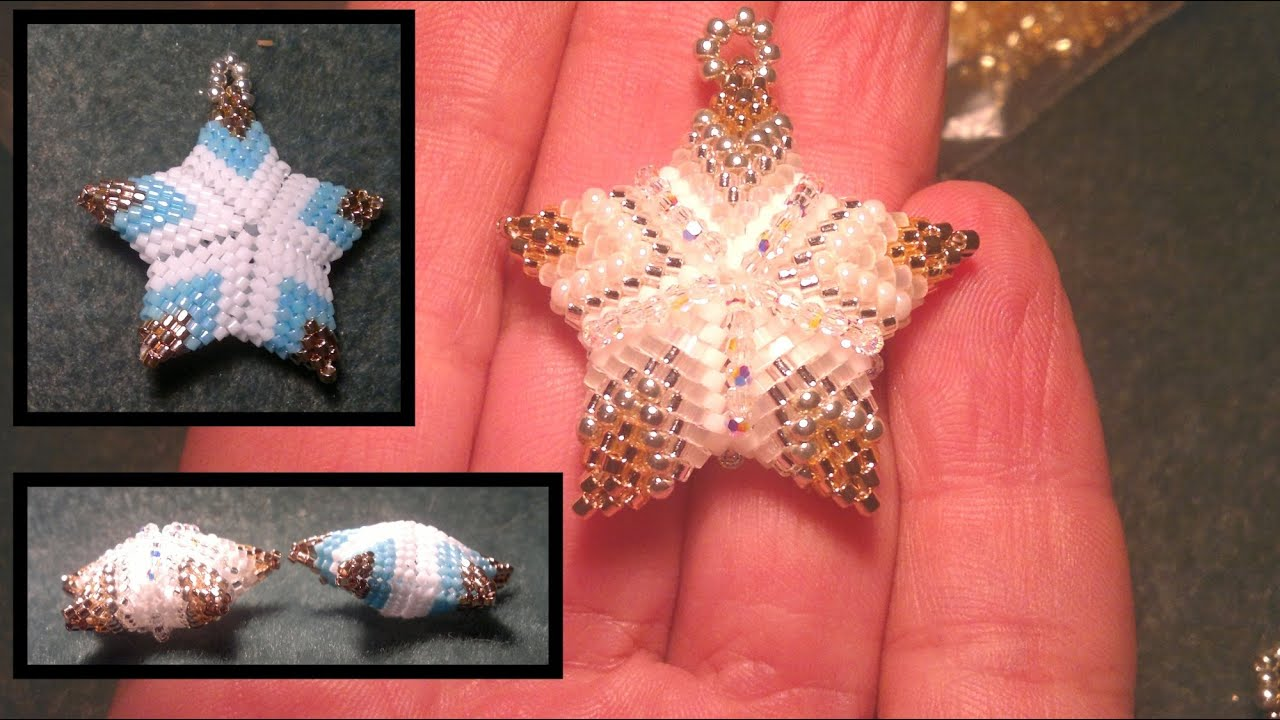 Beading4perfectionists  Beaded 3D Christmas star ornament or