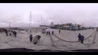 360 video: Soyuz TMA 20M gets ready for takeoff to ISS from ‪Baikonur‬