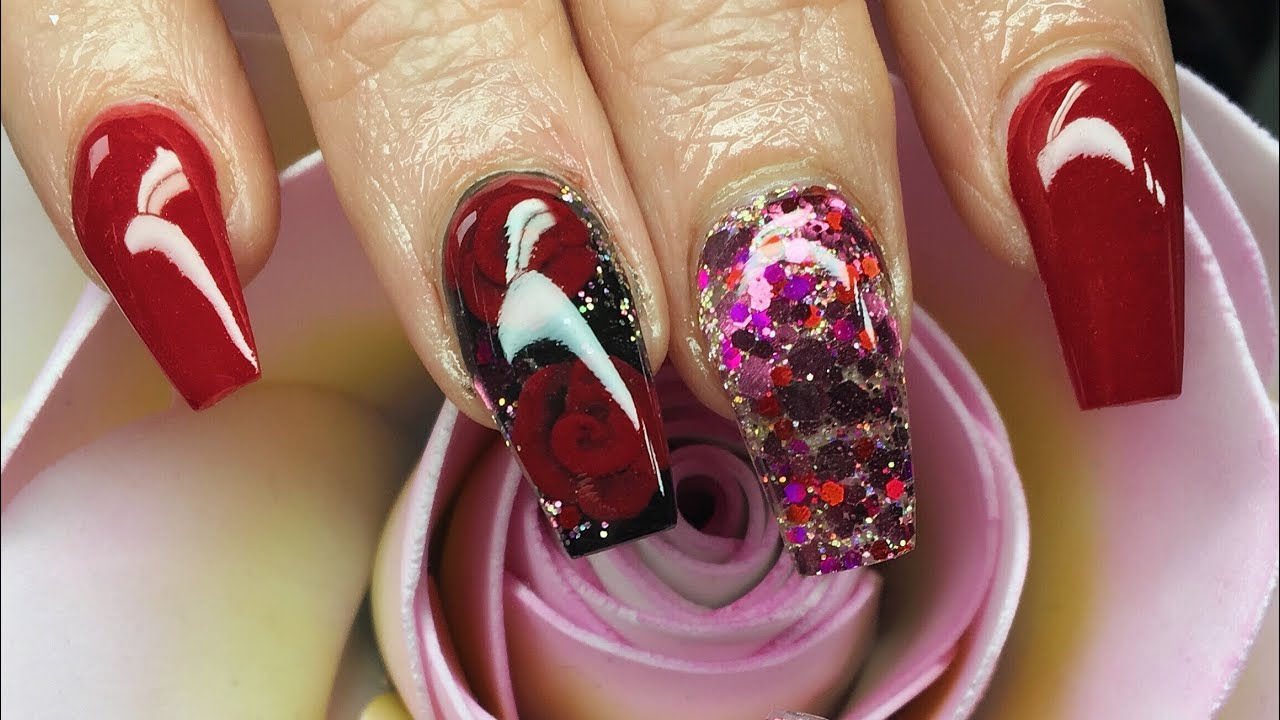 Acrylic Nails 3d Encapsulated Roses Collaboration Valentine S