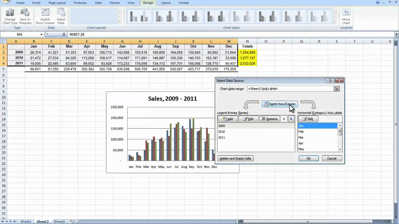 comparing monthly and yearly sales in excel easy youtube