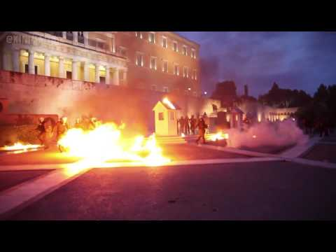Anarchists storm the greek parliament during the 2nd day of anti-austerity riots (Greece, 18/5 riot)