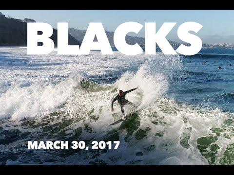 Surfing Blacks Beach - March 30, 2017 - 4K