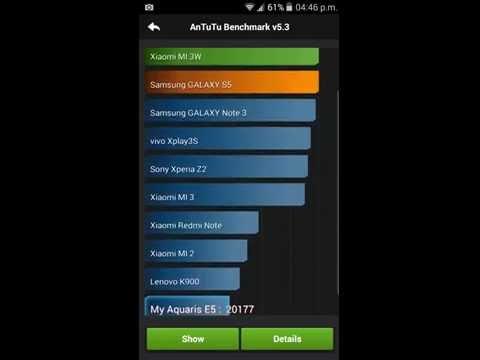 BQ Aquaris E5 HD 4G rendimiento antutu benchmark