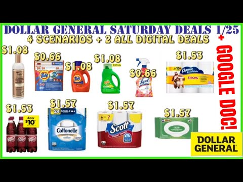 🤗$0.66 TIDE+$1.50 Scott+Dollar General Deals 1/25 +Dollar General Saturday Scenarios 1/25+GOOGLEDOC
