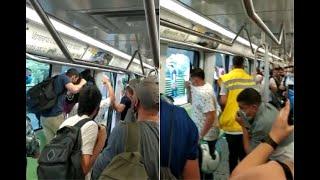 Momento de pánico en estación del metro de Medellín por disturbios