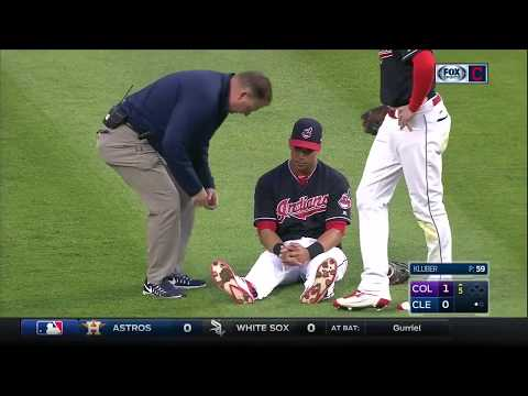 Michael Brantley exits game in the fifth inning with apparent ankle injruy
