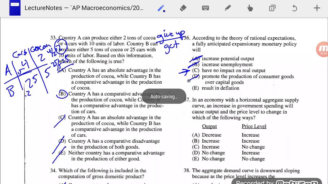 macroeconomics multiple choice