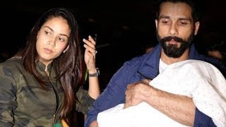 Spotted: Shahid Kapoor-mira Rajput With Misha At The Airport