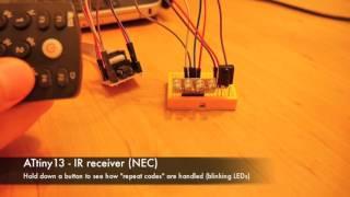ATtiny13 – IR remote to control LEDs (NEC proto)