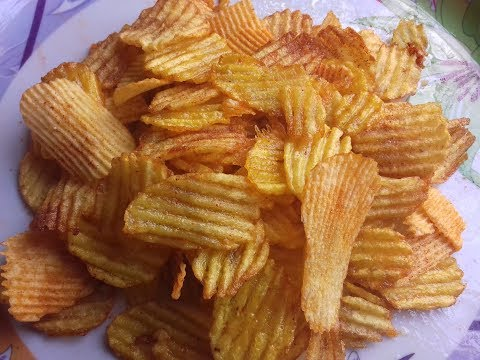Crispy Potato Chips recipe in Hindi/Potato Chips/Lays/Snacks special/Chips in 5 mins