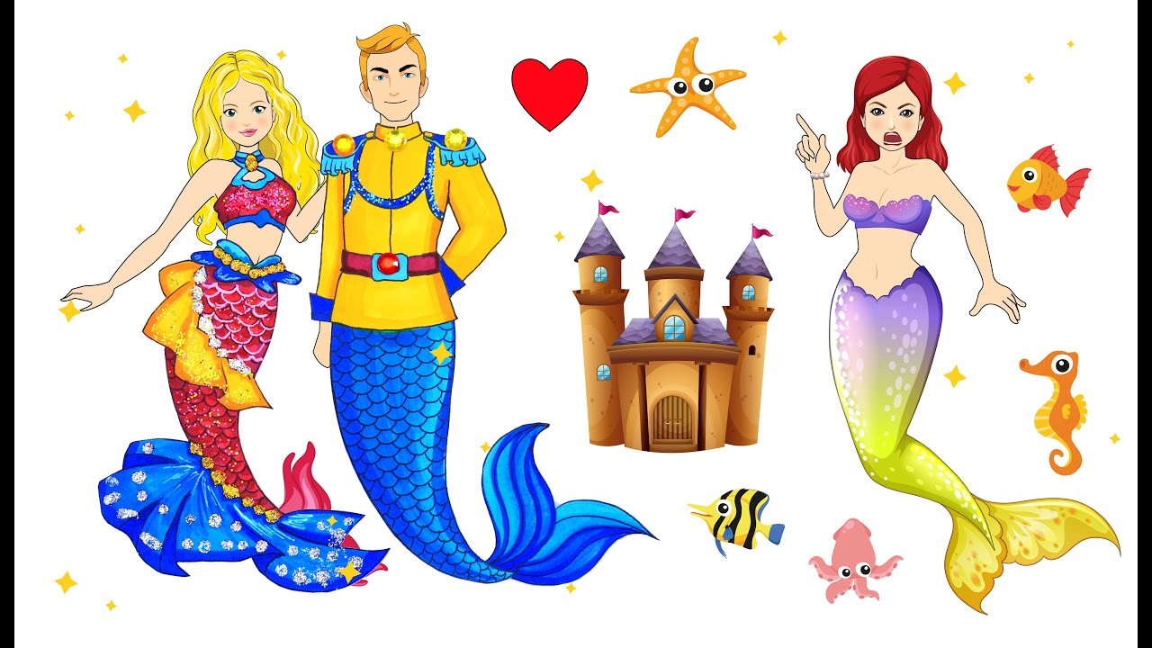 [DIY] Paper Dolls MERMAID Conquer Prince's Heart ! Very Beautiful Dresses Handmade Papercrafts