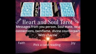 Pick a card. Messages from your person,twin flame, soulmate, divine counterpart.Plus charms.Timeless