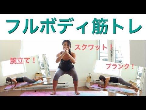 3つの動きで、全身筋トレ|スクワット、プランク、腕立て