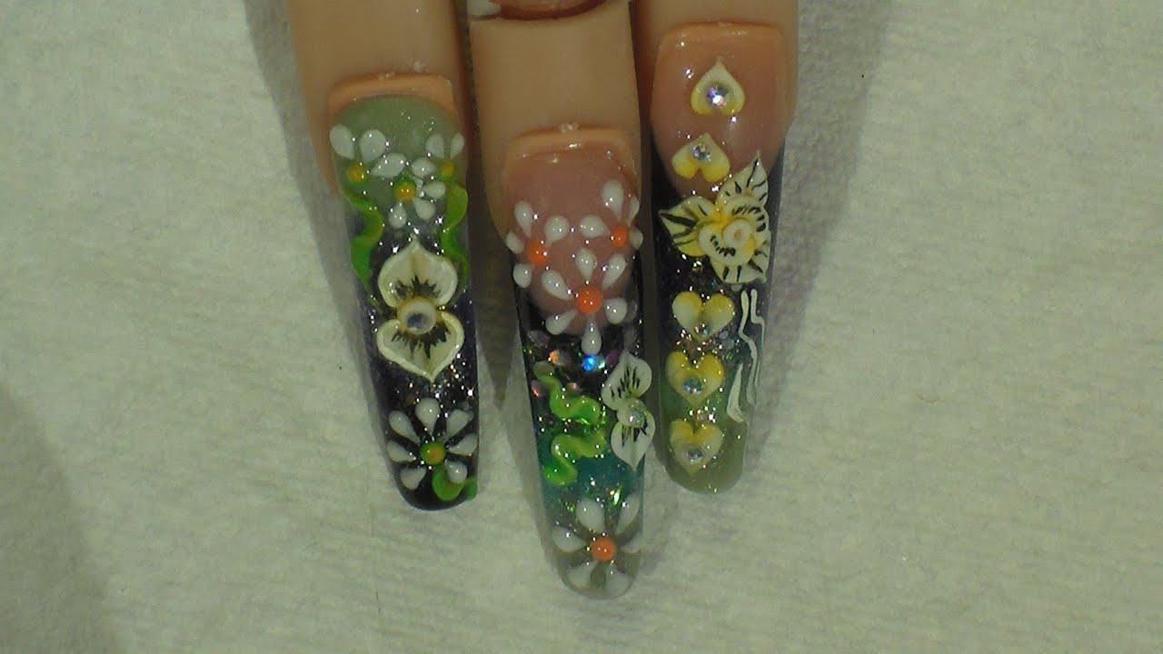 Diseño Negro verde y 3D - Natos Nails - YouTube