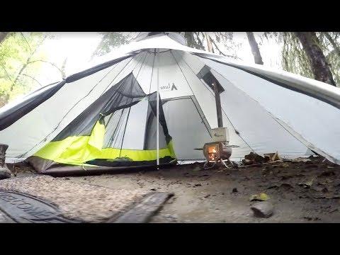 new product 55b8b cdda3 Megahorn Tipi: Stove Walkaround Tent in Rain - YouTube