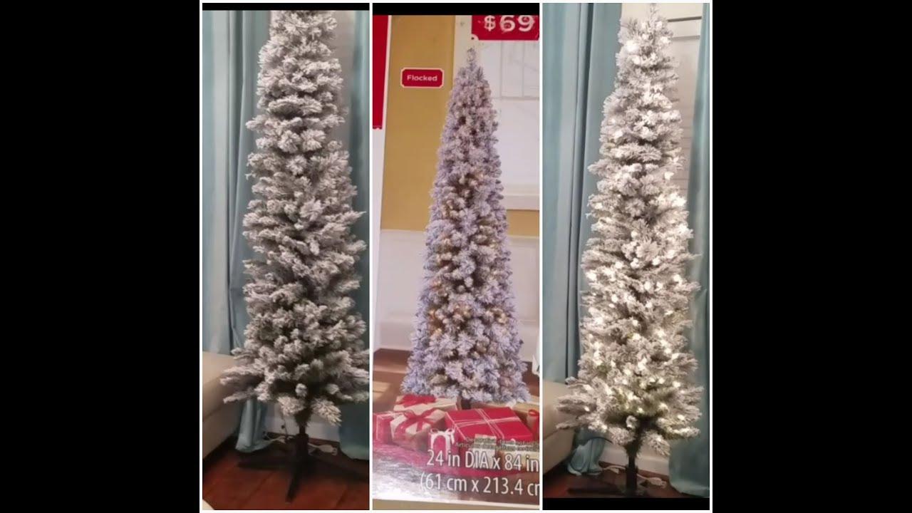 WALMART $69 FLOCKED SLIM 7 FT CHRISTMAS TREE REVIEW