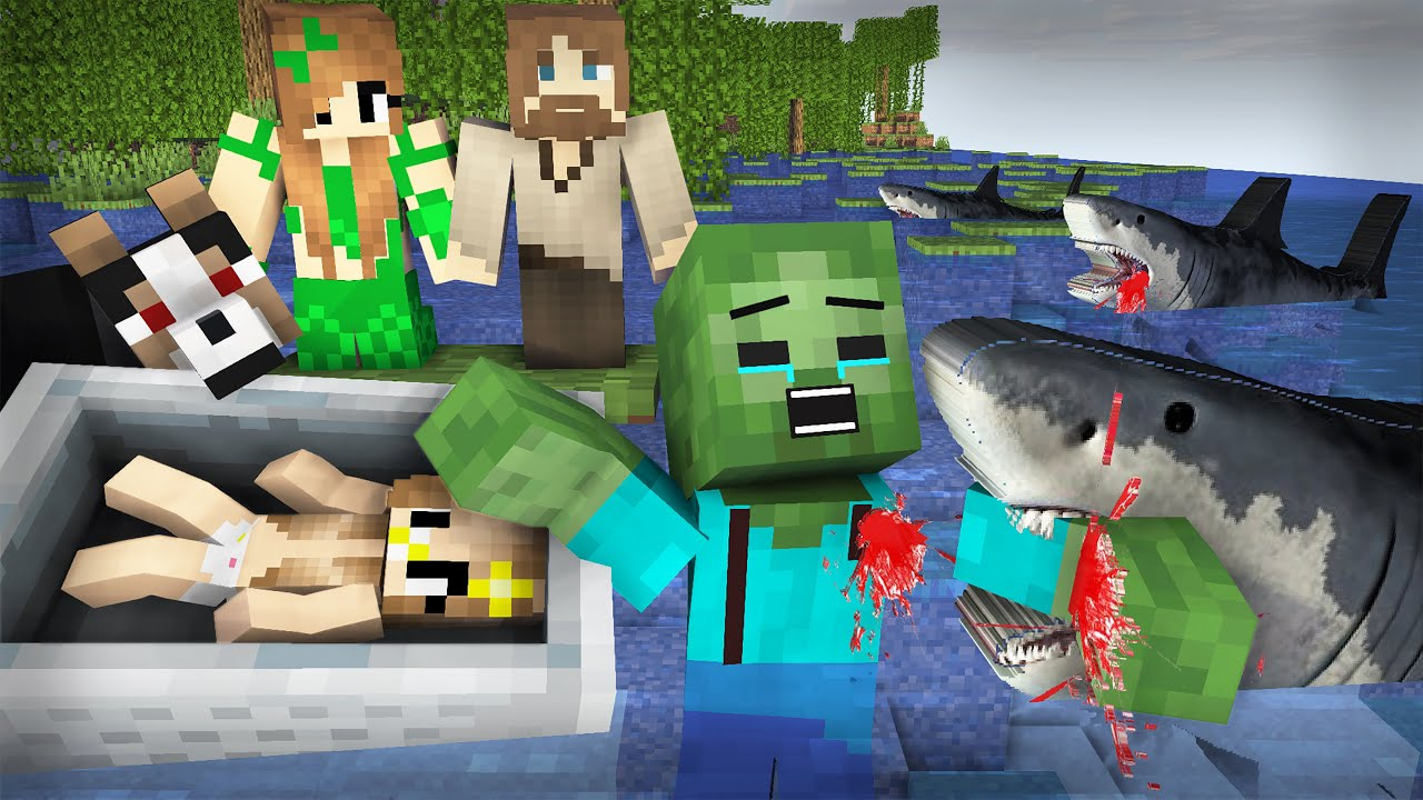 The Young Hero-Zombie Save Baby from the shark | Zombie Sad Life 36 - Minecraft Animation