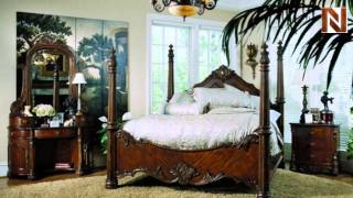 Pulaski Edwardian Complete Queen Poster Bed 2421+50+51+53