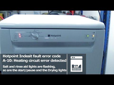 Table Top Dishwasher Fault : Hotpoint Indesit dishwasher flashing lights fault error codes a 10