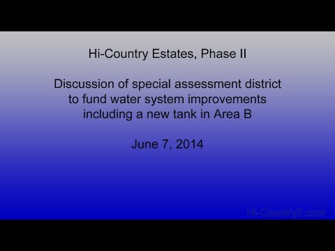 Funding water system improvements with Special Assessment District