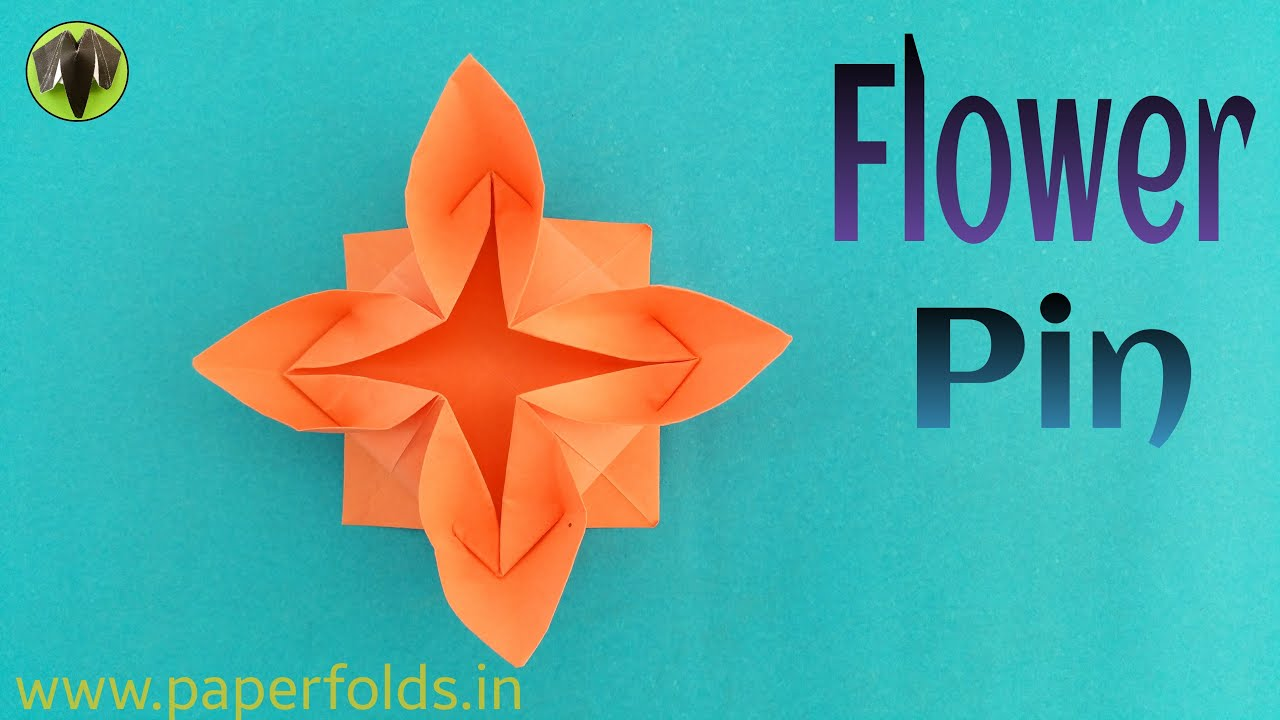 Origami Tutorial To Make A Paper Lotus Flower Pin Youtube