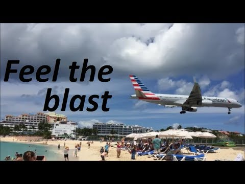 Crazy Low Plane Landing Over Maho Beach At St Martin's Airport (St Maarten Island)