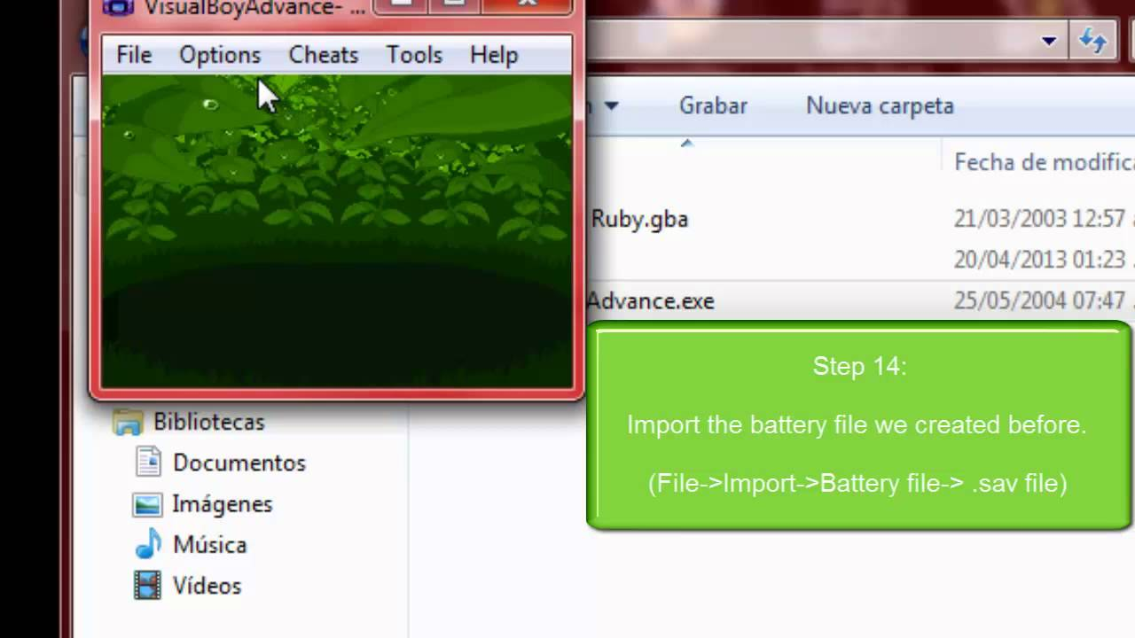 visual boy advance export battery file