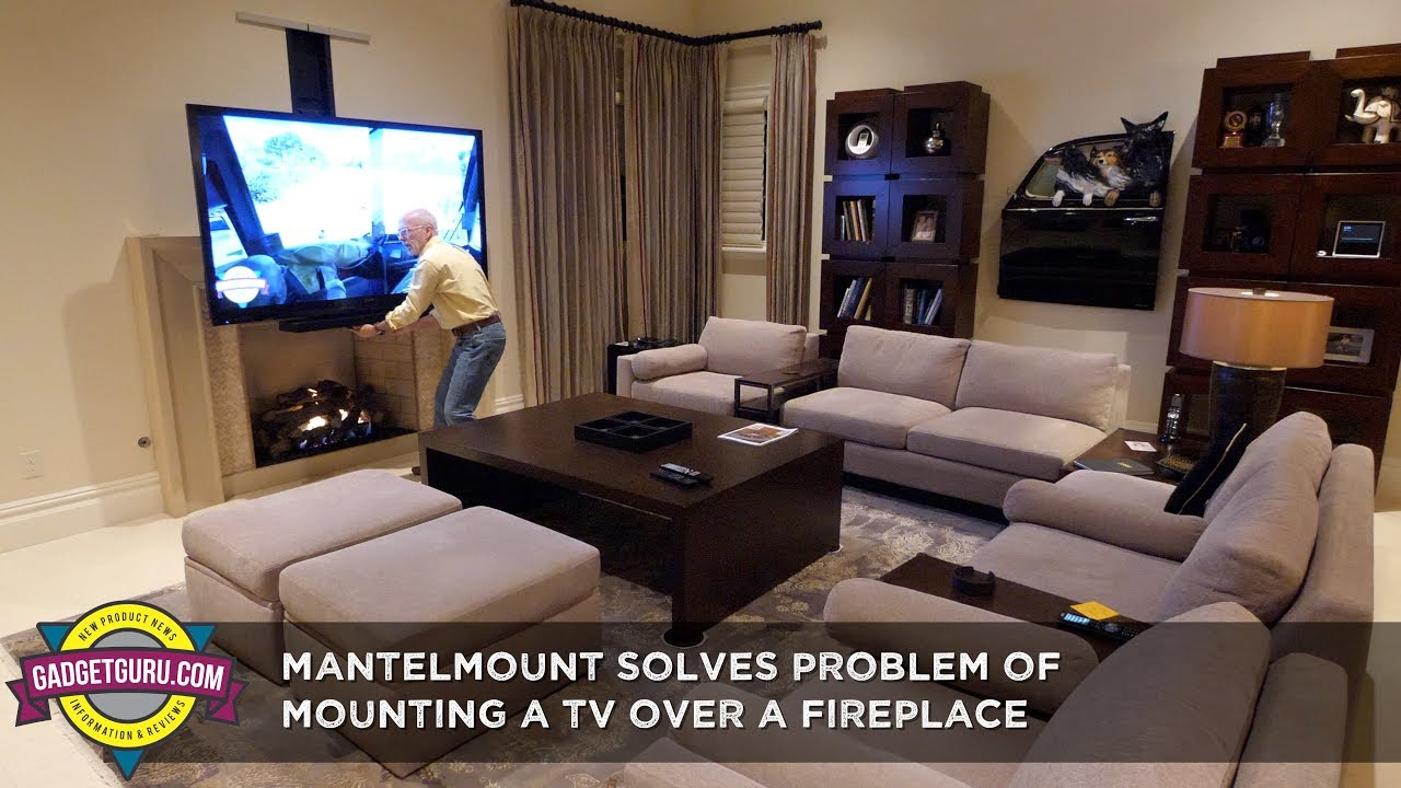Adjustable Mantelmount Solves Problem Of A Tv Over Fireplace Youtube