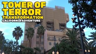 Twilight Zone Tower of Terror covered in scaffolding during transformation at California Adventure