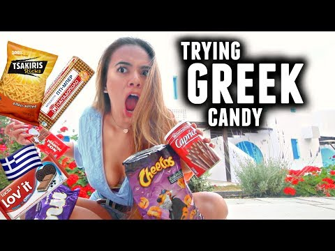 TRYING GREEK CANDY! Canadian Reacts