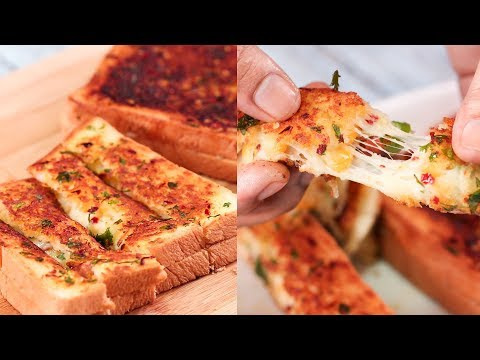 GARLIC CHEESE BREAD STICKS TAWA RECIPE L EASY STUFFED DOMINOS L WITHOUT OVEN L N'OVEN FOODS