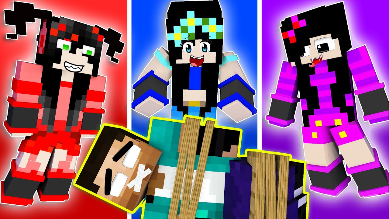 3 Sisters LOVE CURSE Handsome Herobrine Challenge! - Funny  Minecraft Animation