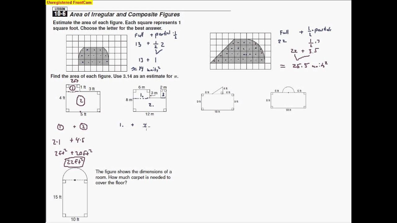 106 Area of Irregular and Composite Figures YouTube – Area of Irregular Figures Worksheet
