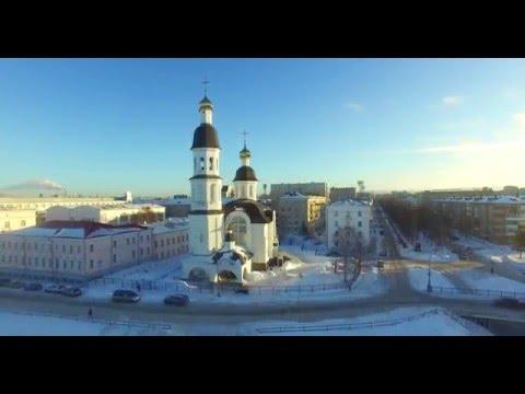 Архангельск, Россия, зима 2016, 4K видео