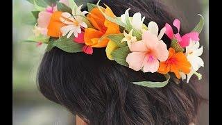 Венок полевых цветов из гофрированной бумаги. Фото мастер-класс